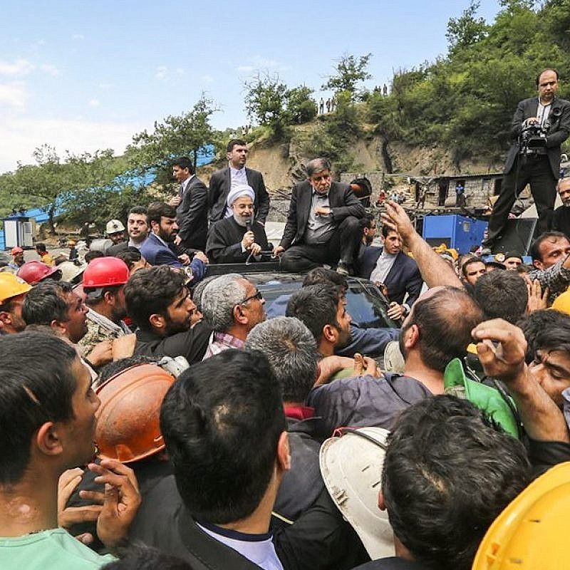 Iranian President Hassan Rouhani addresses coal-mine workers protesting the government's lack of management, on May 7, 2017. Credit: Moein Motlagh/Wikimedia Commons.