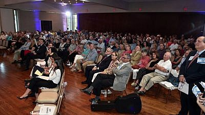 "More than 200 people attended a JNF-USA presentation on ""Gaza Border Crisis: The Trauma, The Damage, The Needs,"" at Temple Beth Hillel-Beth El in Wynnewood, Pa., outside of Philadelphia, Aug. 29, 2018. Credit: Alex Raskopin/Master Studio Photography."