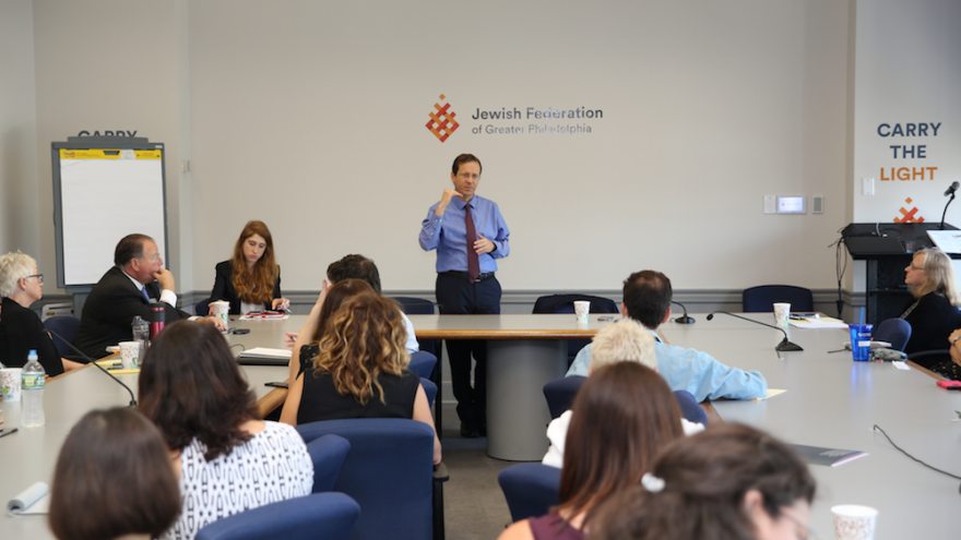 Jewish Agency chairman Isaac Herzog addresses communities in North America. Credit: Jewish Agency.