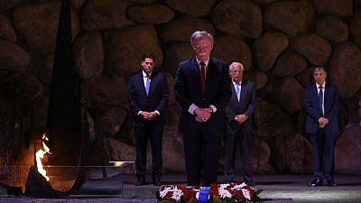 U.S. National Security Advisor John Bolton by the Eternal Flame in Yad Vashem's Hall of Remembrance in Jerusalem. Credit: Noam Revkin Fenton/Yad Vashem.
