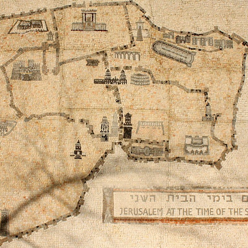 Map of the Old City of Jerusalem. Photo by Kayleigh Rappaport/Flash90.