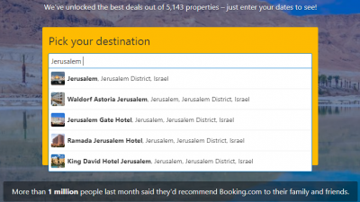 Jerusalem in the Booking.com website. Source: Screenshot.