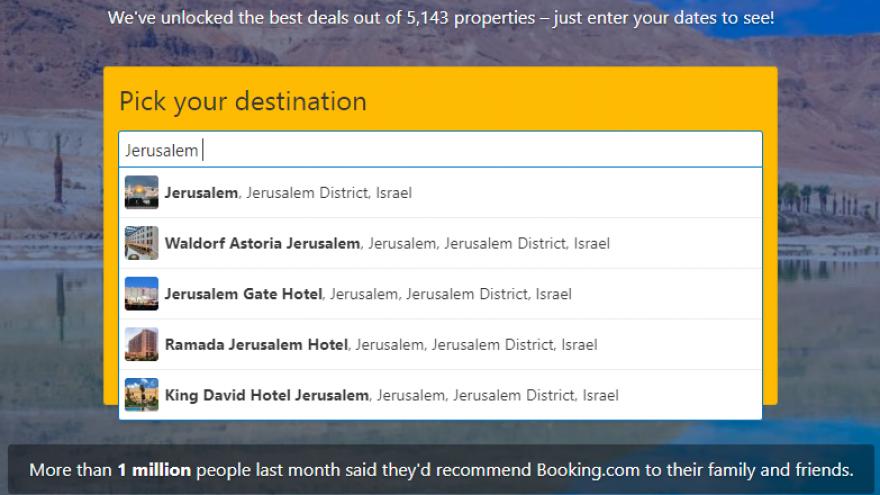 Jerusalem in the Booking.com website. Source: Screenshot.