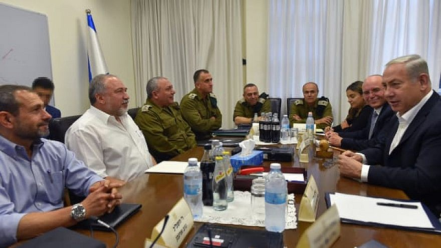 An emergency meeting of the Israeli security cabinet attended by Israeli Prime Minister Benjamin Netanyahu and Defense Minister Avigdor Lieberman, as well as other senior defense officials. Credit: Ariel Harmoni/Defense Ministry.