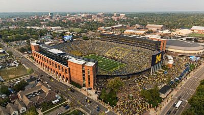 Aerial photo of the University of Michigan campus and football stadium. Credit: University of Michigan.