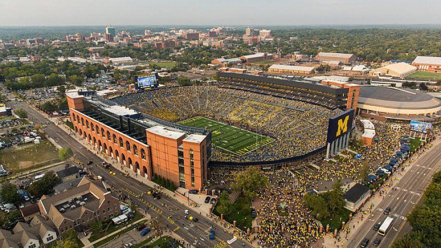 Aerial photo of the University of Michigan campus and football stadium. Credit: University of Michigan.