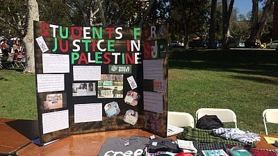 A Students for Justice in Palestine (SJP) display at UCLA. Credit: SJP UCLA via Facebook.