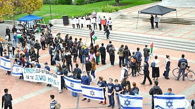 "Students with UC Berkeley's ""Bears for Israel"" hold a counter-demonstration at a Students for Justice in Palestine rally. Credit: Bears for Israel via Facebook."