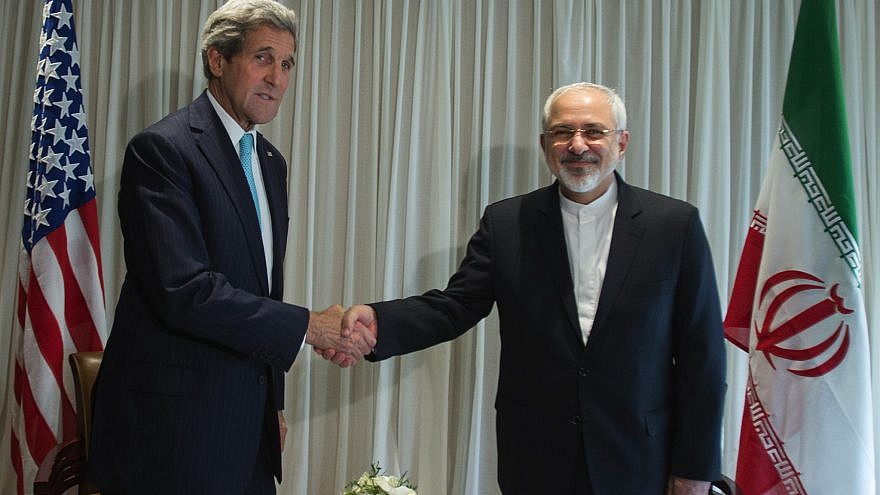 U.S. Secretary of State John Kerry meets with Iranian Foreign Minister Javad Zarif in Geneva, Switzerland, in 2015. Credit: U.S. Mission/Eric Bridiers.