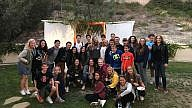 """Congregation Beth Am in San Diego, Calif. Youth Department's recent """"sukkah hop."""" Courtesy."""