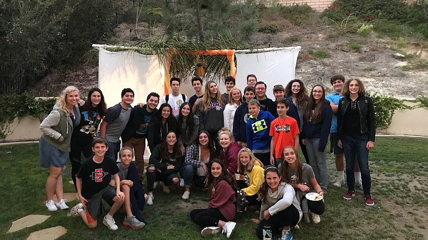 "Congregation Beth Am in San Diego, Calif. Youth Department's recent ""sukkah hop."" Courtesy."