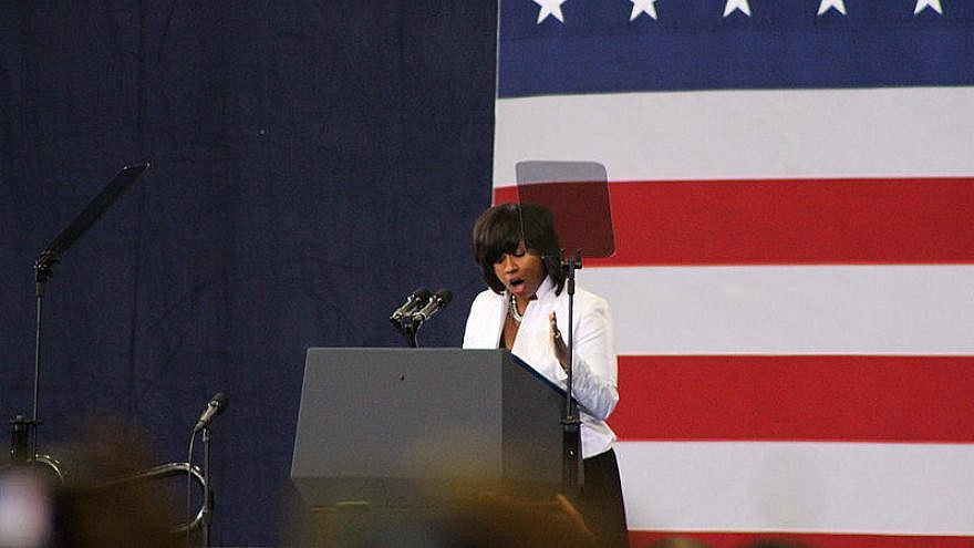 Boston City Councilor Ayanna Pressley speaking at the Reggie Lewis Track and Athletic Center at a rally for Massachusetts Sen. Ed Markey