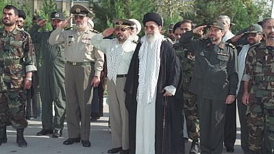 Iranian Supreme Leader Ayatollah Ali Khamenei with Revolutionary Guard Corps. Credit: Wikimedia Commons.
