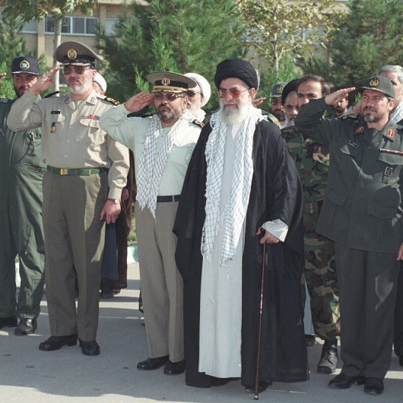 Iranian Supreme Leader Ayatollah Ali Khamenei with the Islamic Revolutionary Guard Corps. Credit: Wikimedia Commons.