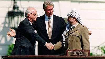 From left: Israeli Prime Minister Yitzhak Rabin, U.S. President Bill Clinton and Palestine Liberation Organization head Yasser Arafat at the signing of the Oslo Accords on Sept. 13, 1993. Credit: Vince Musi/The White House.