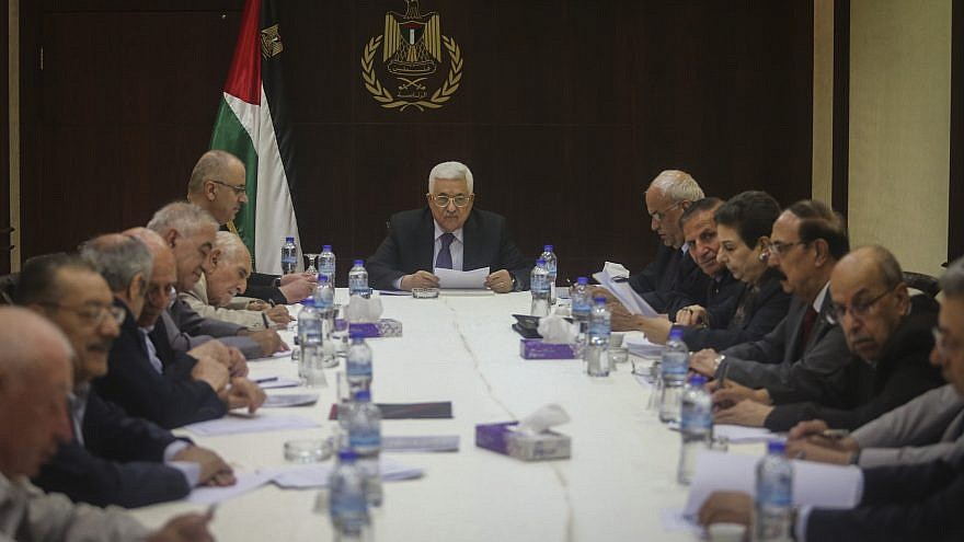 Palestinian Authority leader Mahmoud Abbas chairs a meeting of the PLO executive committee in Ramallah on Aug. 7, 2016. Photo by Flash90.