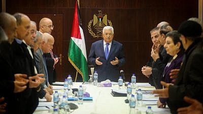 Palestinian Authority leader Mahmud Abbas at a meeting of the executive committee of the Palestine Liberation Organization (PLO) in the city of Ramallah, on Feb. 13, 2017. Photo by Flash90.