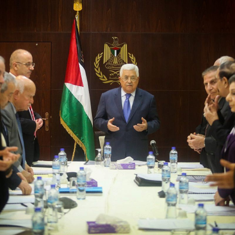 Palestinian Authority leader Mahmoud Abbas at a meeting of the executive committee of the Palestine Liberation Organization in the city of Ramallah in the West Bank, on Feb. 13, 2017. Photo by Flash90.