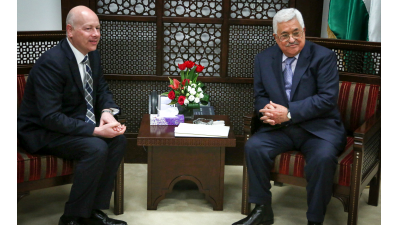 U.S. Special Representative for International Negotiations Jason Greenblatt with Palestinian Authority leader Mahmoud Abbas in the West Bank city of Ramallah, March 14, 2017.