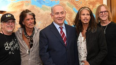Israeli Prime Minister Benjamin Netanyahu meets with members of the rock band Aerosmith at the Prime Minister's Office in Jerusalem on May 18, 2017. Photo by Kobi Gideon/GPO.
