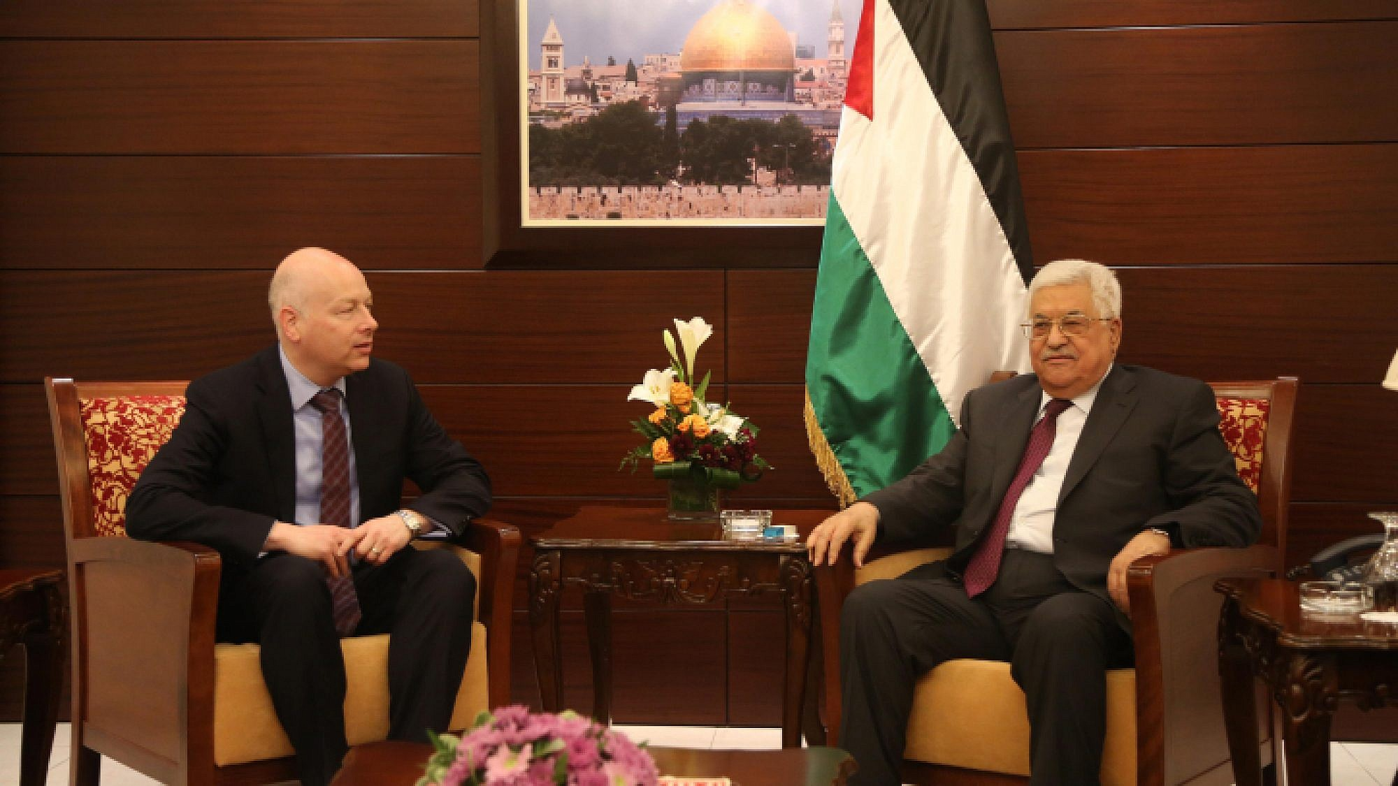 U.S. Assistant to the President and Special Representative for International Negotiations Jason Greenblatt with Palestinian leader Mahmud Abbas in the West Bank city of Ramallah on May 25, 2017. Photo by Flash90.
