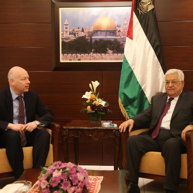 US President's envoy to the Middle East Jason Greenblatt  meets with Palestinian leader Mahmud Abbas in the West Bank city of Ramallah on May 25, 2017. Photo by FLASH90