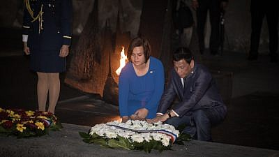 Philippines President Rodrigo Duterte visits the Yad Vashem Holocaust Memorial Museum in Jerusalem during an official visit to Israel. There, he placed a wreath with his daughter, Sara Duterte, on Sept. 3, 2018. Photo by Hadas Parush/Flash90.