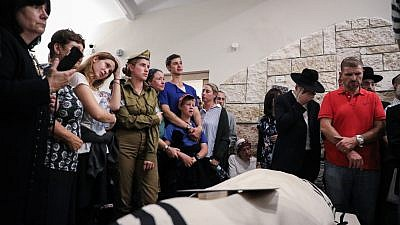 Friends and family attend the funeral of Ari Fuld, 45, who was stabbed to death at the Gush Etzion Junction on Sept. 16, 2018. Photo by Gershon Elinson/Flash90.