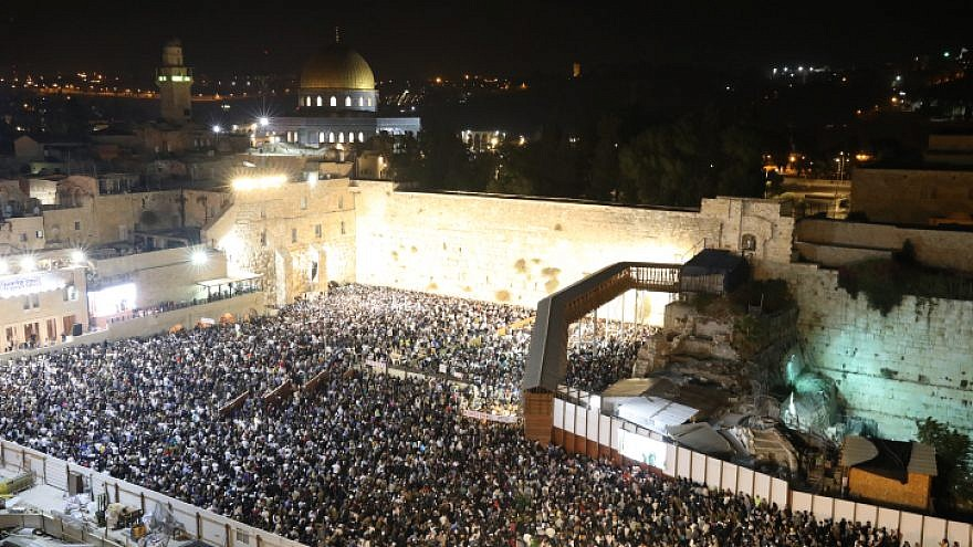 Thousands pray for forgiveness at a Selichot service, prior to the Jewish holiday of Rosh Hashanah, at the Western Wall in the Old City of Jerusalem on Sept. 16, 2018. Photo by Noam Revkin Fenton/Flash90.