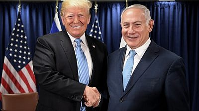 U.S. President Donald Trump with Israeli Prime Minister Benjamin Netanyahu at U.N. headquarters in New York City on Sept. 26, 2018. Photo by Avi Ohayon/GPO.
