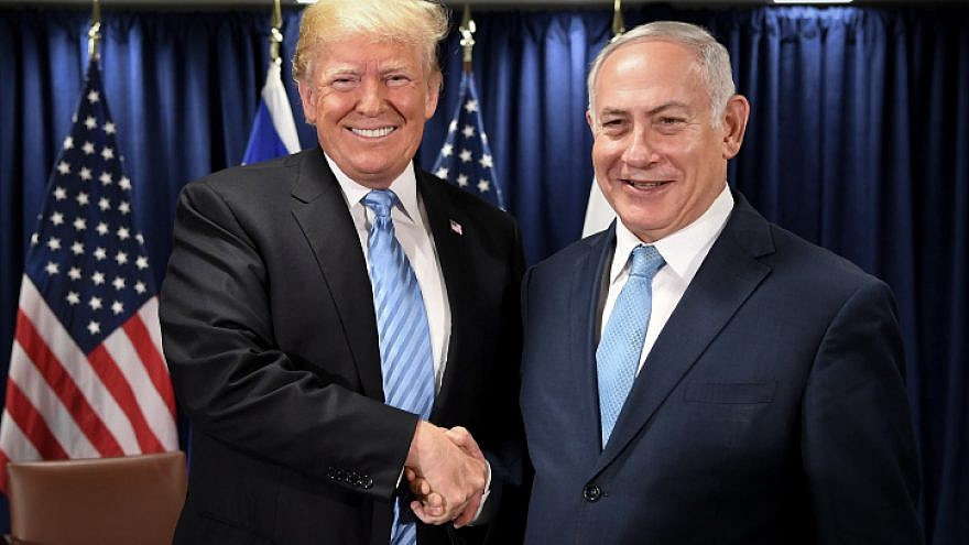U.S. President Donald Trump with Israeli Prime Minister Benjamin Netanyahu at United Nations headquarters in New York on Sept. 26, 2018. Photo by Avi Ohayon/GPO.