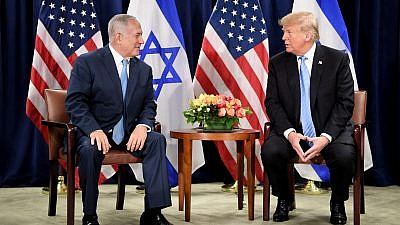U.S. President Donald Trump meets with Israeli Prime Minister Benjamin Netanyahu at United Nations headquarters in New York on Sept. 26, 2018. Photo by Avi Ohayon/GPO.