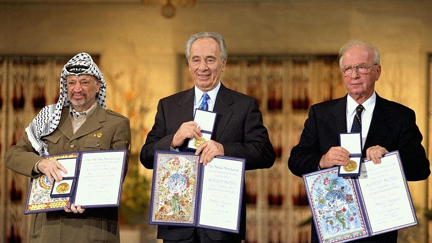 The Nobel Peace Prize laureates for 1994 in Oslo. From left: PLO chairman Yasser Arafat, Israeli Foreign Minister Shimon Peres and Israeli Prime Minister Yitzhak Rabin. Credit: Israeli GPO.