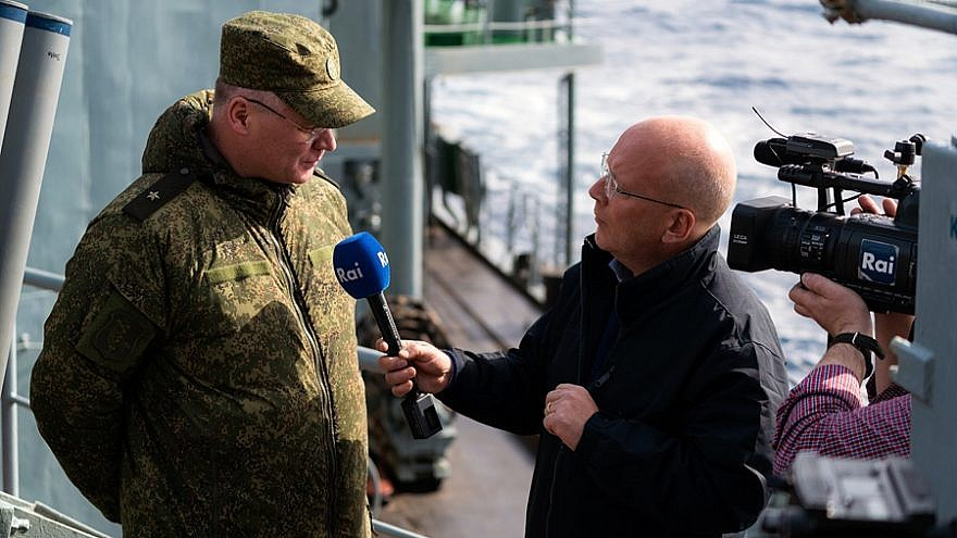 Maj.-Gen. Igor Konashenkov, chief spokesman for Russia's Ministry of Defense, being interviewed during the deployment of the Russian Navy in the Mediterranean Sea, January 2016. Credit: Russia Ministry of Defense via Wikimedia Commons.