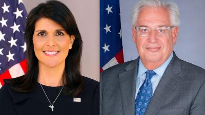 U.S. Ambassador to the United Nations Nikki Haley and U.S. Ambassador to Israel David Friedman. Screenshot: U.S. Department of State; U.S. Embassy in Tel Aviv.