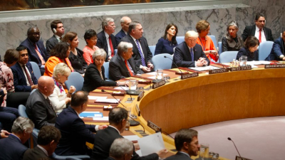 U.S. President Donald Trump chairing the U.N. Security Council meeting on Sept. 26, 2018. Credit: Screenshot.