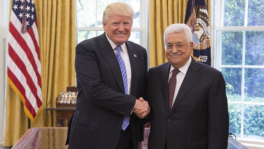 U.S. President Donald Trump and Palestinian Authority leader Mahmoud Abbas in the Oval Office of the White House in Washington, D.C., on May 3, 2017. Credit: Official White House Photo by Shealah Craighead.