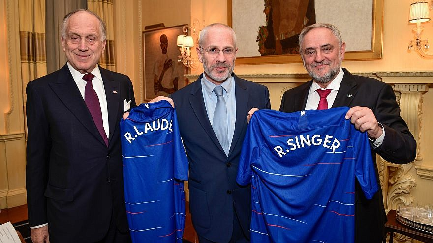 From left: WJC President Ronald S. Lauder, director for Chelsea Football Club Eugene Tenenbaum and WJC CEO Robert Singer. Credit: Photo by Shahar Azran/World Jewish Congress.