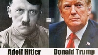 The controversial flyer comparing U.S. President Donald Trump to Nazi leader Adolf Hitler (Credit: Israel Hayom)