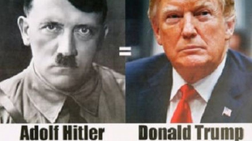 The controversial flyer comparing U.S. President Donald Trump to Nazi leader Adolf Hitler. Credit: Israel Hayom.