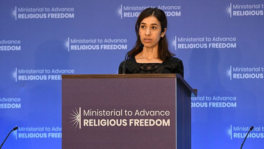 Nadia Murad, a prominent Yezidi human-rights activist and survivor of ISIS gender-based violence, delivers remarks at the Ministerial to Advance Religious Freedom at the U.S. Department of State in Washington, D.C., on July 25, 2018. Photo Credit: U.S. Department of State/Flickr.