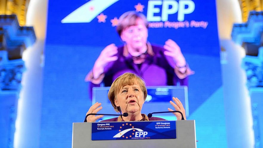 Angela Merkel at the 2012 congress of the European People's Party (EPP). Credit: Wikimedia Commons.