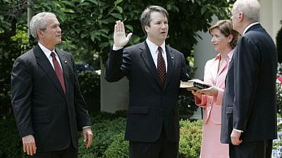 Swearing-in ceremony for Brett Kavanaugh to the U.S. Court of Appeals for the District of Columbia on June 1, 2006. White House Photo by Eric Draper/Wikimedia Commons.