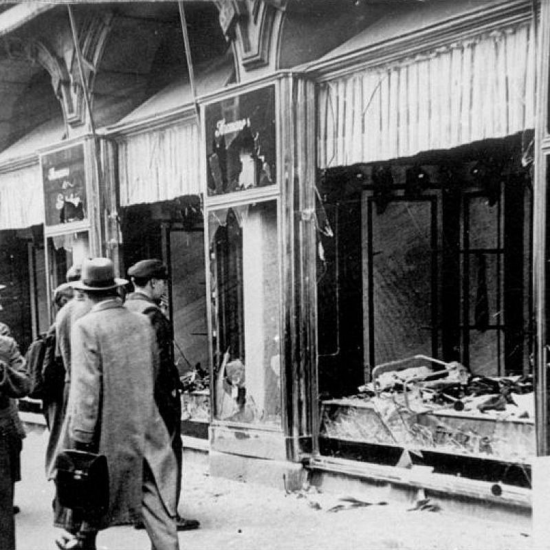 A shop damage in Magdeburg, Germany, during Kristallnacht. Credit: Wikimedia Commons.