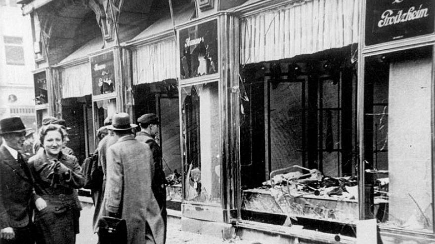 "Damage to a shop in Magdeburg, Germany, as a result of Kristallnacht (""Night of the Broken Glass""), Nov. 9-10, 1938. Credit: Wikimedia Commons."