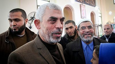 Yahya Sinwar, the leader of Hamas in Gaza, attends the opening of a new mosque in Rafah, in the southern Gaza Strip, on Feb. 24, 2017. Photo by Abed Rahim Khatib/Flash90.