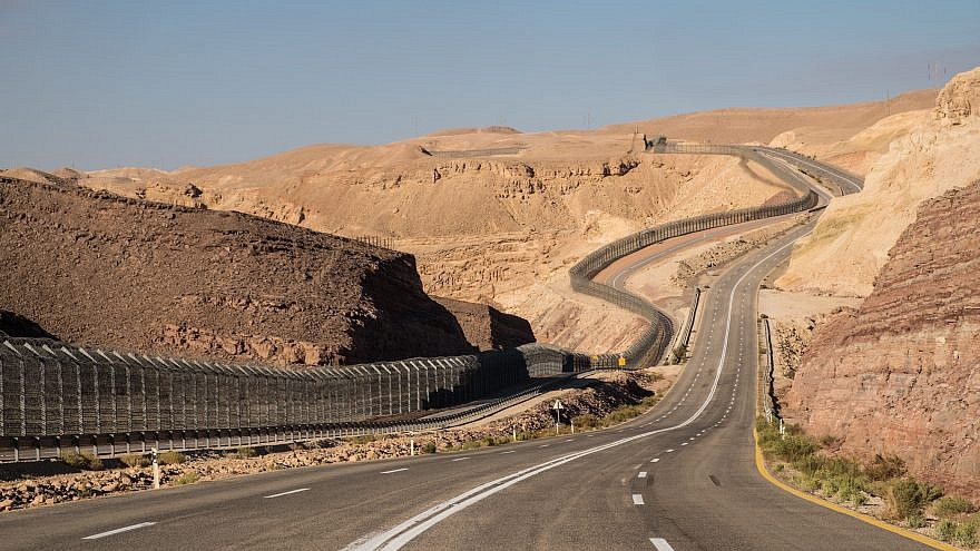 The border fence with Egypt in Eilat in southern Israel