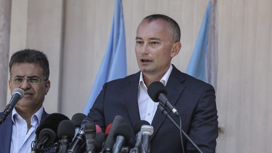 United Nations Special Coordinator for the Middle East Peace Process Nickolay Mladenov speaks at a press conference during his visit in Gaza on July 15, 2018. By Wissam Nassar/Flash90.
