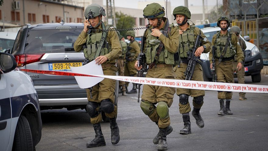 Israeli security forces at the scene of a shooting attack in the Barkan Industrial Park area on Oct. 7, 2018. Photo by Flash90.