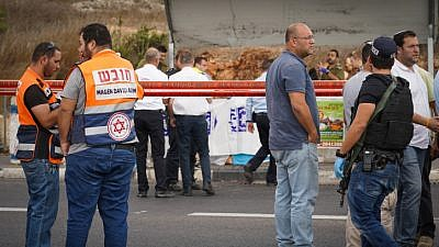 The scene of an attempted stabbing attack near Ariel in Samaria on Oct. 15, 2018. Photo by Flash90.